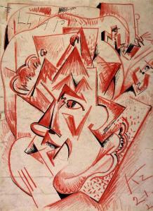 Kompozicion kubo-futurist me figura, Kirill Zdanevich, 1921