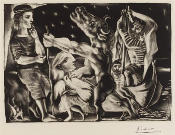 Vajza e vogël i prin minotaurit të verbër, natën - Pablo Picasso, 1937