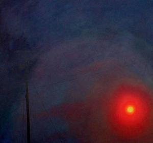 James Gwynne - Lindje e diellit me smog e me shtyllë telefoni, 1989