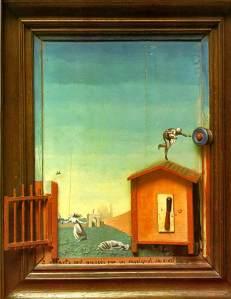 2 fëmijëve u kanoset një bilbil - Max Ernst, 1924